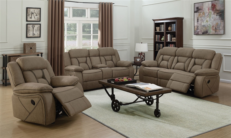 Amazing Houston 2 Piece Reclining Sofa Set In Tan Microfiber Upholstery By Coaster 602264 S Machost Co Dining Chair Design Ideas Machostcouk