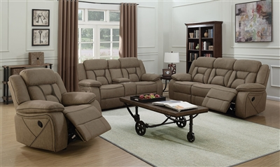 Houston 2 Piece Reclining Sofa Set in Tan Microfiber Upholstery by Coaster - 602264-S