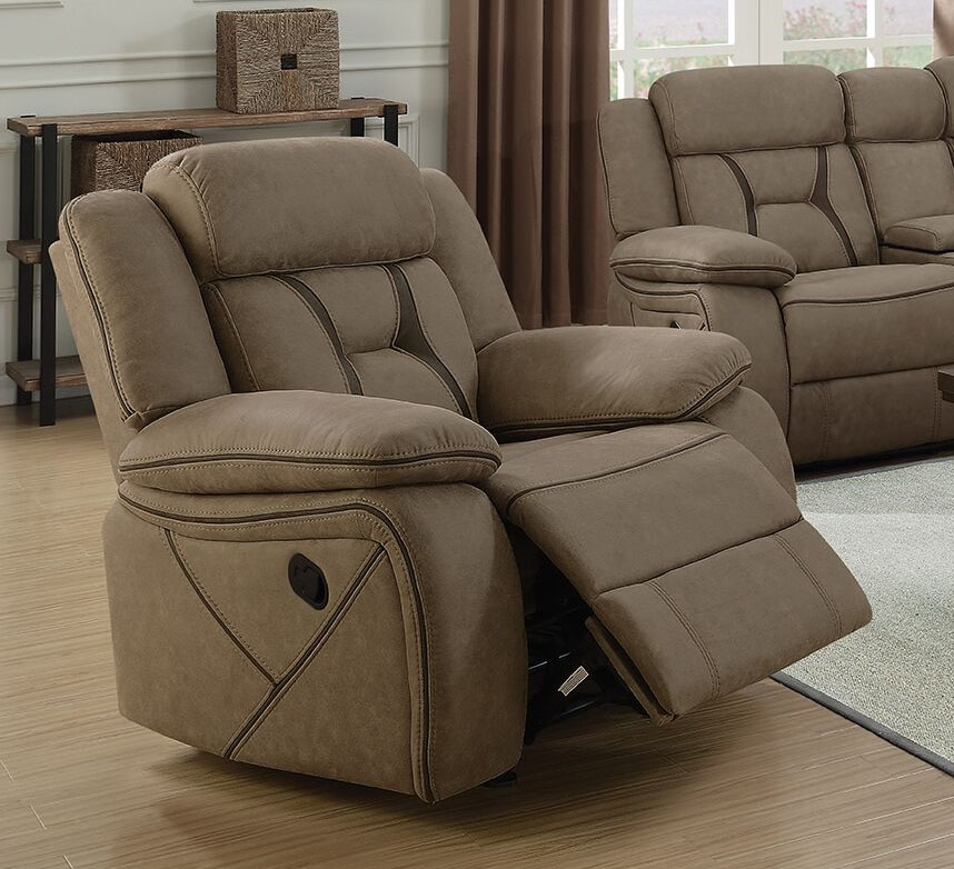 Phenomenal Houston Glider Recliner In Tan Microfiber Upholstery By Coaster 602266 Machost Co Dining Chair Design Ideas Machostcouk