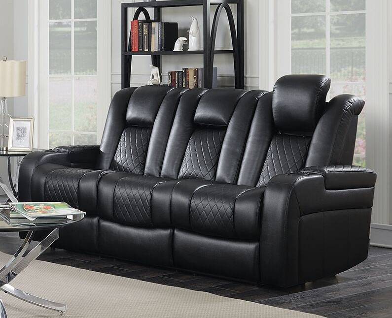 Delangelo Sofa In Black Leather Like Upholstery By Coaster 602301p