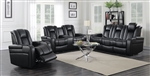 Delangelo 2 Piece Power Recline Sofa Set in Black Leather Like Upholstery by Coaster - 602301P-S