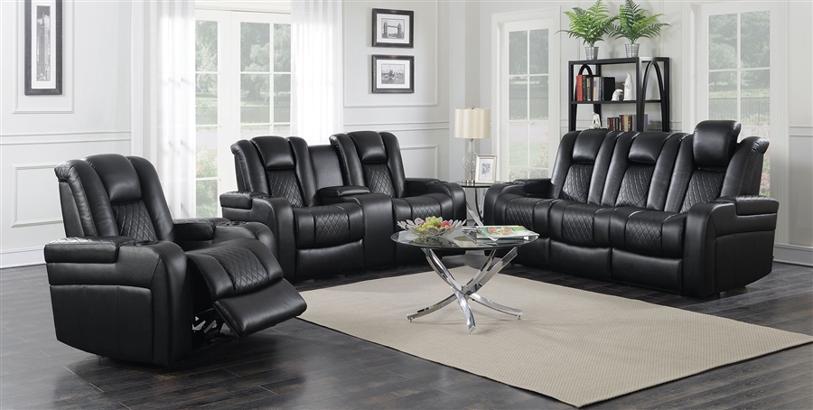 Delangelo 2 Piece Power Recline Sofa Set In Black Leather Like Upholstery  By Coaster   602301P S