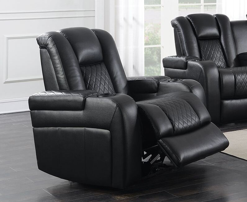 Delangelo Power Recliner In Black Leather Like Upholstery By Coaster    602303P