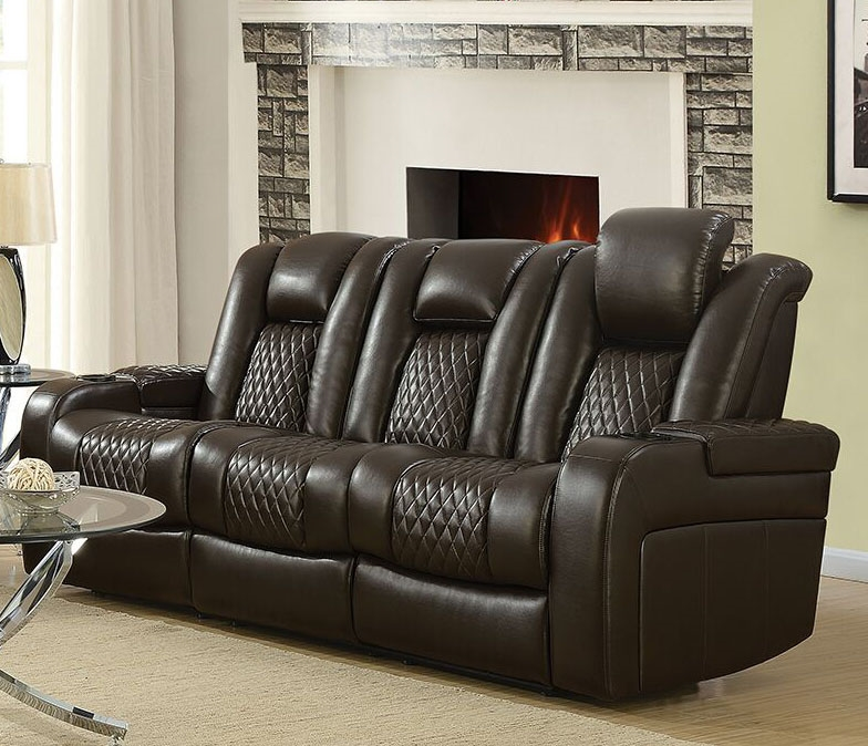 Delangelo Power Sofa in Brown Leather Like