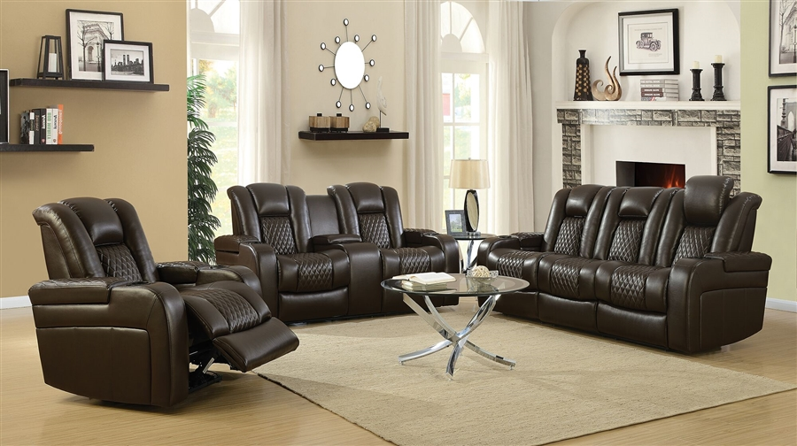 Delangelo 2 Piece Power Recline Sofa Set In Brown Leather Like Upholstery  By Coaster   602304P S