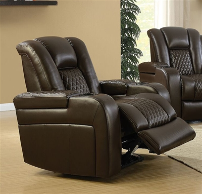 Delangelo Power Recliner in Brown Leather Like Upholstery by Coaster - 602306P