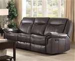 Sawyer Reclining Sofa in Brown Leatherette Upholstery by Coaster - 602331