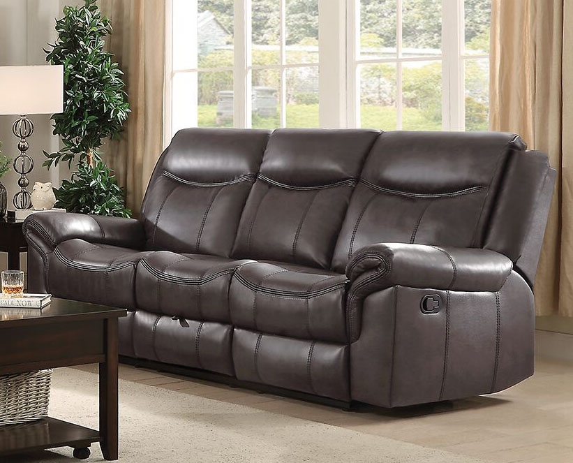 Sawyer Reclining Sofa In Brown Leatherette Upholstery By Coaster 602331
