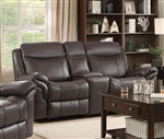 Sawyer Gliding Reclining Console Loveseat in Brown Leatherette Upholstery by Coaster - 602332