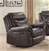 Sawyer Glider Recliner in Brown Leatherette Upholstery by Coaster - 602333