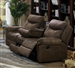 Sawyer Reclining Sofa with Drop Down Table in Macchiato Brown Performance Microfiber Upholstery by Coaster - 602334