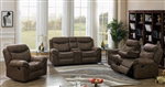 Sawyer 2 Piece Reclining Sofa Set in Two Tone Taupe Microfiber Upholstery by Coaster - 602334-S