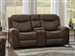 Sawyer Gliding Reclining Console Loveseat in Two Tone Taupe Microfiber Upholstery by Coaster - 602335