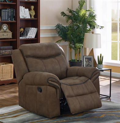 Sawyer Glider Recliner in Two Tone Taupe Microfiber Upholstery by Coaster - 602336