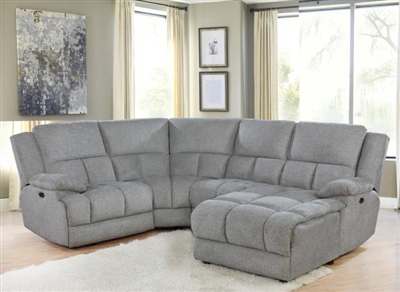 Belize 4 Piece Reclining Sectional in Grey Performance Fabric by Coaster - 602560-4
