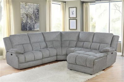 Belize 5 Piece Reclining Sectional in Grey Performance Fabric by Coaster - 602560-5