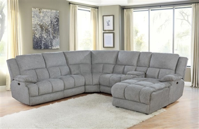 Belize 6 Piece Reclining Sectional in Grey Performance Fabric by Coaster - 602560-6