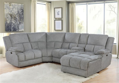 Belize 5 Piece Power Reclining Sectional in Grey Performance Fabric by Coaster - 602560P-05