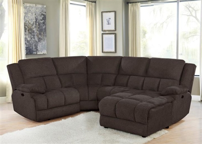 Belize 4 Piece Reclining Sectional in Brown Performance Fabric by Coaster - 602570-4
