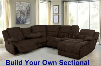 Belize Build Your Own Power Reclining Sectional in Brown Performance Fabric by Coaster - 602570P-BYO