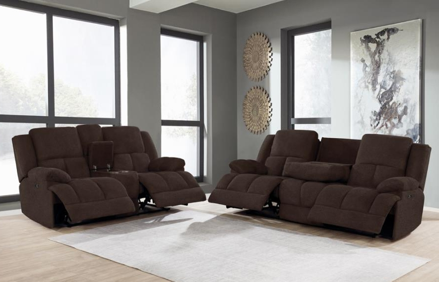 Belize 2 Piece Power Reclining Living, Fabric Living Room Sets With Recliner