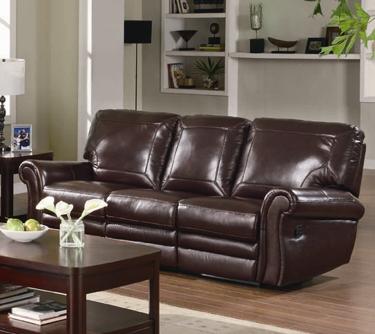 Teagan Reclining Sofa in Burgundy Leather Upholstery by Coaster - 602921