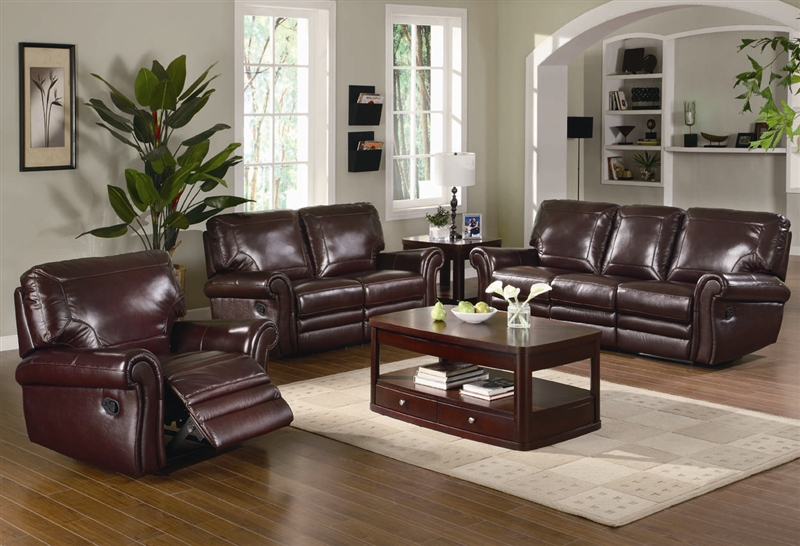 Teagan 2 Piece Reclining Sofa Set in Burgundy Leather Upholstery by Coaster  - 602921-S