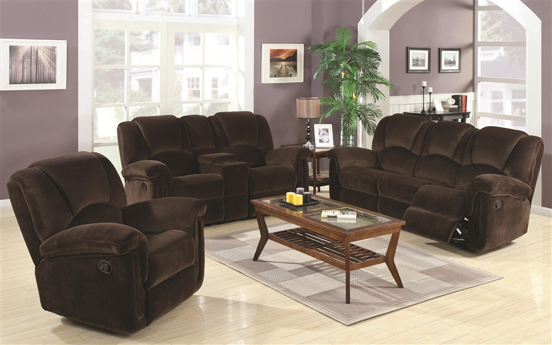 Ajay 2 Piece Reclining Sofa Loveseat Set In Chocolate Velvet Fabric By  Coaster   602991S