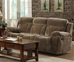 Myleene Reclining Sofa in Mocha Fabric Upholstery by Coaster - 603031