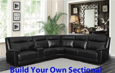 Cullin BUILD YOUR OWN Power Sectional in Black Leatherette Upholstery by Coaster - 603160-BYO