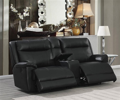 Cullin 3 Piece Console Power Loveseat in Black Leatherette Upholstery by Coaster - 603162P