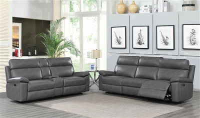 Albany 2 Piece Power Living Room Set in Grey Leatherette by Coaster - 603271-S