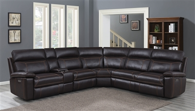 Albany 6 Piece Power Sectional in Brown Leatherette by Coaster - 603290PP