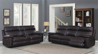 Albany 2 Piece Power Living Room Set in Brown Leatherette by Coaster - 603291-S