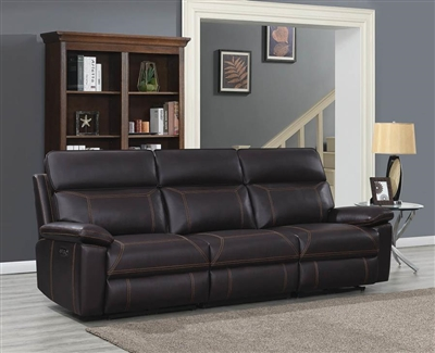 Albany 3 Piece Power Sofa in Brown Leatherette by Coaster - 603291PP