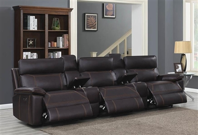 Albany 5 Piece Power Home Theater Seating in Brown Leatherette by Coaster - 603291PPT