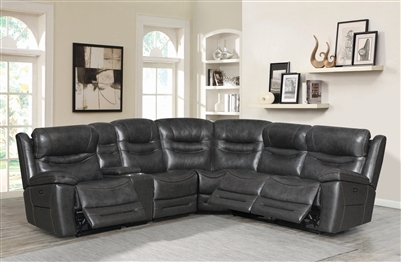 Destin 6 Piece Power Sectional in Charcoal Leather by Coaster - 603310PP