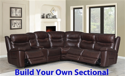 Destin BUILD YOUR OWN Power Sectional in Brown Leather by Coaster - 603320-BYO