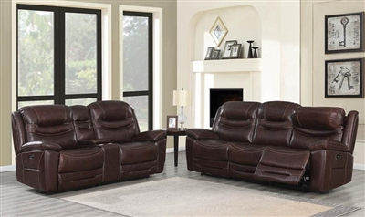 Destin 2 Piece Power Living Room Set in Brown Leather by Coaster - 603321-S