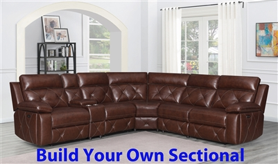 Chester BUILD YOUR OWN Power Sectional in Chocolate Leather by Coaster - 603440-BYO