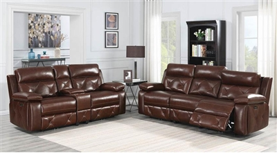 Chester 2 Piece Power Living Room Set in Chocolate Leather by Coaster - 603441-S