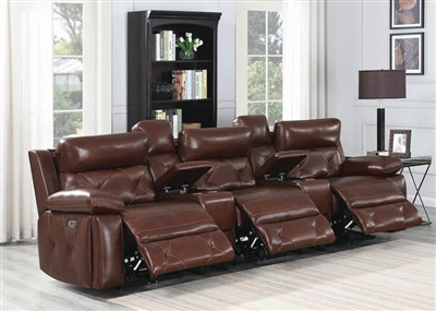 Chester 5 Piece Power Home Theater Seating in Chocolate Leather by Coaster - 603441PPT