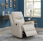 Beige Leatherette Power Recliner by Coaster - 609025P