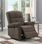 Brown Chenille Power Recliner by Coaster - 609158P