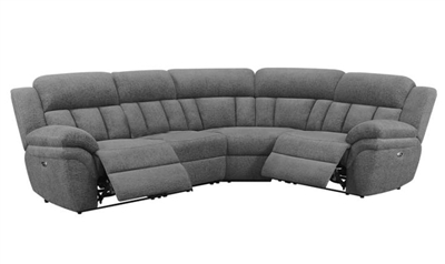 Bahrain 4 Piece Reclining Sectional in Charcoal Chenille by Coaster - 609540-04