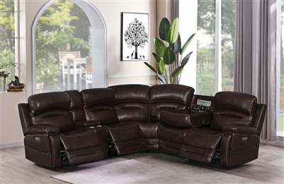Amanda 6 Piece Power Sectional in Dark Brown Leather by Coaster - 610020PPP