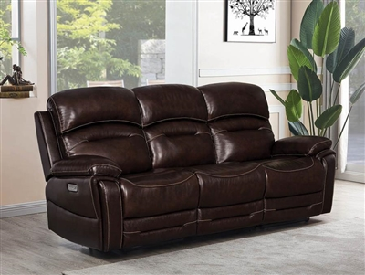 Amanda 3 Piece Power Sofa in Dark Brown Leather by Coaster - 610021PPP