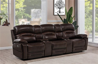 Amanda 5 Piece Power Home Theater Seating in Dark Brown Leather by Coaster - 610021PPPT