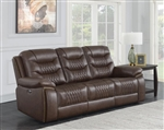 Flamenco Reclining Sofa with Drop Down Table in Brown Breathable Performance Leatherette by Coaster - 610201