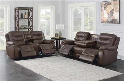 Flamenco 2 Piece Reclining Living Room Set in Brown Breathable Performance Leatherette by Coaster - 610201-SET
